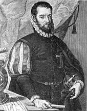 A black and white etching of Spanish explorer Pedro Menéndez de Avilés standing at a table with maps and holding a sword