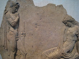 Pelops - Image: Pelops and Hippodamia; Base relief, Metropolitan Museum, New York City