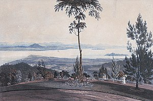 Gelugor - An 1818 painting of the view overlooking George Town and Gelugor.