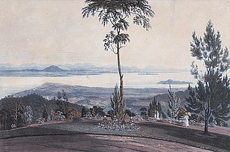 Seberang Perai - Province Wellesley can be seen in the horizon in this 1818 drawing of George Town.