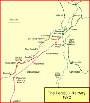 Penicuik Railway - System map of the Penicuik Railway