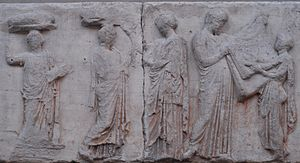 Liturgy (ancient Greece) - Block V of the eastern Parthenon Frieze, perhaps depicting the arrhephoroi, part of the liturgical calendar.