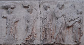 Liturgy (ancient Greece) - Block V of the eastern Parthenon Frieze, perhaps depicting the arrhephoroi, part of the liturgical calendar.
