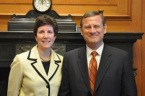Barbara A. Perry - Barbara Perry with Chief Justice John G. Roberts in his chambers.  Chief Justice Roberts introduced Perry's lecture at the U.S. Supreme Court, April 20, 2010.  The lecture on Supreme Court Appointments can be viewed in the C-SPAN archives, by following the external reference below.