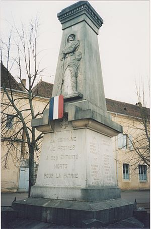 Pesmes - a monument in commemoration of the residents of Pesmes,France, who were killed during World War I