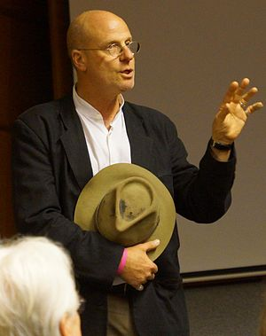 """Péter Forgács - Péter Forgács at his film """"Free Fall"""" public screening at the Central European University in Budapest on 25 June 2013"""