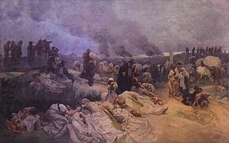 Petr Chelčický - Painting of Chelčický instructing others to not repay evil with evil (by Alphonse Mucha)