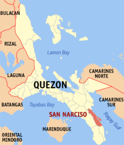Map of Quezon showing the location of San Narciso