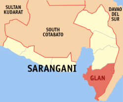 Map of Sarangani showing the location of Glan.