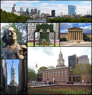 Frae top left, the Philadelphia skyline, a statue of Benjamin Franklin, the Liberty Bell, the Philadelphia Museum of Art, Philadelphia City Hall, an Independence Hall