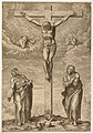Philippe Soye - The Crucifixion with Christ on the Cross between the Virgin and St John, based on Michelangelo's drawing for Vittoria Colonna, with a coat of arms and a skull at the foot of the Cross. 1568.jpg