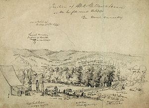 Battle of Philippi (West Virginia) - Position of McClellan's Advance on the Heights Round Philippi. (This contemporary soldier's sketch shows the disposition of some of Morris's troops just northwest of Philippi on the threshold of the battle.)