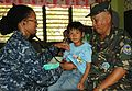 Philippine air force Tech. Sgt. Rosito C. Cacho, right, a physician at the 4th Air Force Reserve Center, Western Command, and U.S. Navy Cmdr. Lynelle M. Boamah, left, a pediatrician with the Naval Medical 120410-A-YK011-916.jpg