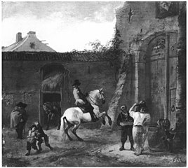 A Horseman in the Inn-Yard