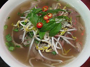 Vietnamese phở noodle soup with thinly sliced ...