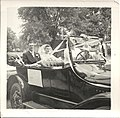 Photograph of Vern Boomhour and Bev (née Cole) on their wedding day, July 28th, 1956. They married at the United Church in Deseronto, Ontario. The vintage car in the photograph belonged to (16437813237).jpg