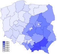 Poparcie dla PiS w wyborach 2007 z podziałem na okręgi