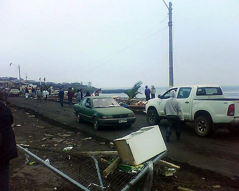 Pichilemu highway, the day of the earthquake and tsunami. Image: Diego Grez.