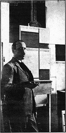 Piet Mondrian in his Paris studio.jpg