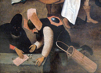 Waffle - Detail from Pieter Bruegel's Het gevecht tussen Carnaval en Vasten – among the first known images of waffles