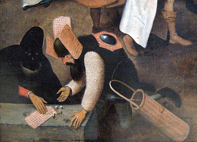 Detail from Pieter Bruegel's Het gevecht tussen Carnaval en Vasten - among the first known images of waffles.