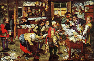 Pieter Brueghel the Younger, 'Paying the Tax (The Tax Collector)' oil on panel, 1620-1640. USC Fisher Museum of Art.jpg