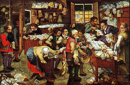 Pieter Brueghel the Younger, The tax collector's office, 1640 Pieter Brueghel the Younger, 'Paying the Tax (The Tax Collector)' oil on panel, 1620-1640. USC Fisher Museum of Art.jpg