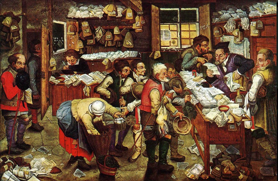 Pieter Brueghel the Younger, 'Paying the Tax (The Tax Collector)' oil on panel, 1620-1640. USC Fisher Museum of Art
