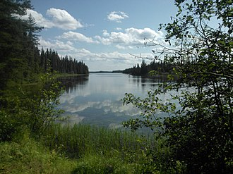 View of Grass River while hiking the Pisew Falls to Kwasitchewan Falls Trail Pisew Falls Trail.jpg