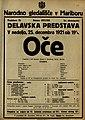Plakat za predstavo Oče v Narodnem gledališču v Mariboru 25. decembra 1921.jpg