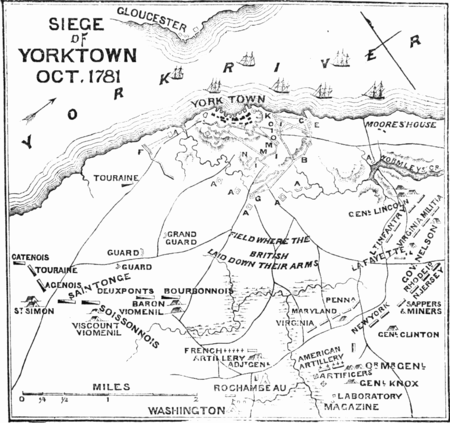 A map of key sites in the Battle of Yorktown Plan of the Battle of Yorktown 1875.png
