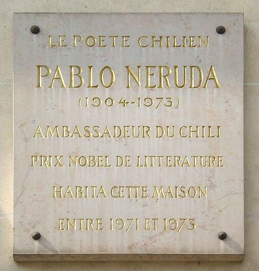 Plaque Pablo Neruda, 2 avenue de La Motte-Picquet, Paris 7.jpg
