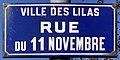 Plaque Rue 11 Novembre - Les Lilas (FR93) - 2021-04-27 - 1.jpg