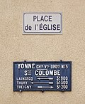Plaque et panneau à Sainte-Colombe-sur-Loing.JPG