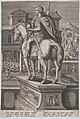 Plate 2- equestrian statue of Augustus, holding a globe and seen from behind, with a feast occurring at left in the background, from 'Roman Emperors on Horseback' MET DP877291.jpg