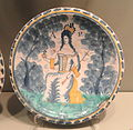 Plate commemorating Queen Anne, c. 1702-1714, London or Bristol, tin-glazed earthenware - Gardiner Museum, Toronto - DSC01263.JPG