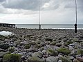 Poles marking the entrance to Porlock Weir Harbour - geograph.org.uk - 1710745.jpg