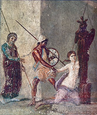 Palladium (classical antiquity) - Ajax the Lesser drags Cassandra from the Palladium. Detail from a Roman fresco in the atrium of the Casa del Menandro (I 10, 4) in Pompeii.