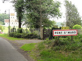 Pont-Saint-Mard (Aisne) city limit sign.JPG