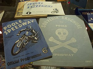 Poole Pirates - Two Poole Speedway programmes from 1948 and 1962 on display at Poole Museum