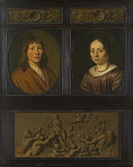 Portraits of a Man and a Woman framed with two ornamental frieze miniatures with shell motif and a Triumph of Amphitrite