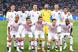 Portugal national football team - Portugal lining up before a match at the 2018 FIFA World Cup