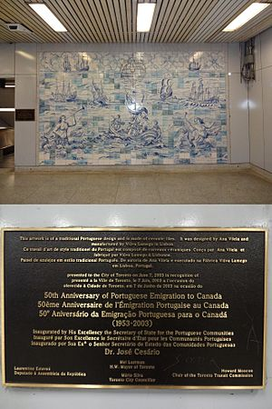 Portuguese people - Sign and frame about Portuguese immigration inside one subway station in Toronto, Ontario, Canada.
