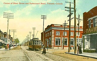 Dovercourt Park - Dovercourt from Dovercourt Road and Bloor Street (c. 1910). The village was annexed by Toronto in 1910.