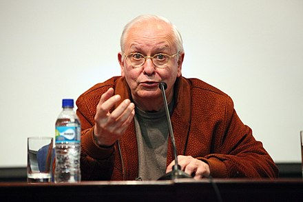 The Argentine political theorist Ernesto Laclau developed his own definition of populism. He regarded it as a positive force for emancipatory change in society Presentacion del Documental CATASTROIKA y Presentacion de la Revista Debates y Combates (7215329954).jpg