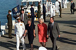 President George Bush, right, and his wife Barbara are accompanied by Adm. Charles R. Larson and his wife as they arrive for a ceremony marking the 50th anniversary of the Japanese attack on Pearl Harbor.jpg