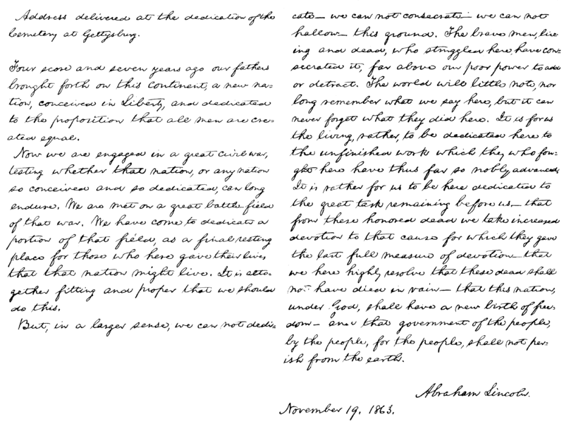 Presidents Abraham Lincoln Gettysburg address.png