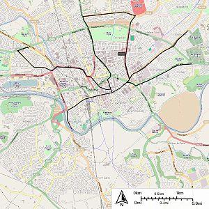 Preston Corporation Tramways - Map of Preston Corporation Tramways