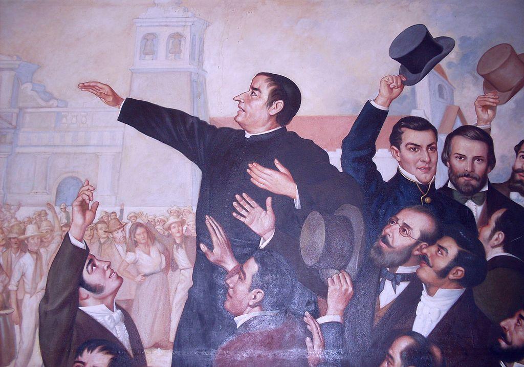José Matías Delgado en el cuadro El Primer Grito de Independencia del pintor chileno Luis Vergara Ahumada