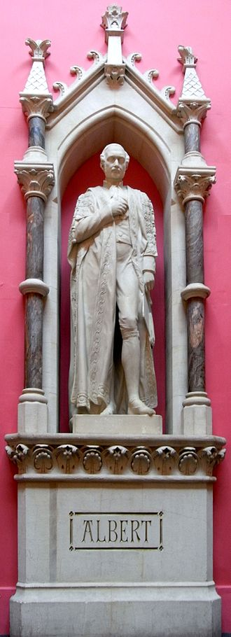 """Royal Albert Memorial Museum - Prince Albert sculpted by Devon-born Edward Bowring Stephens (1815–1882), main staircase of Royal Albert Memorial Museum. Inscribed on base: """"E B Stephens ARA 1868"""". Stephens gave his labour gratis and was a benefactor of the museum and had been a promoter of its predecessor"""